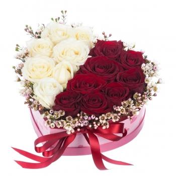 Композиция из красных и белых роз в оформлении с хамелациумом
