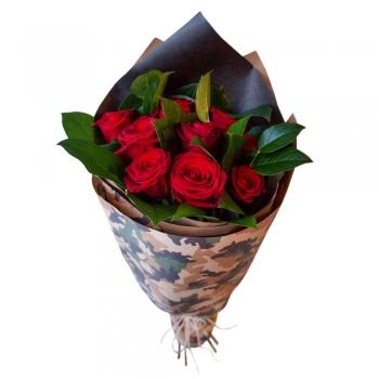 Мужской букет из красных роз