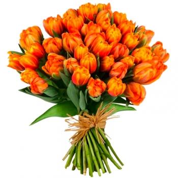 Акция! Букет из 51 рыжего тюльпана
