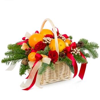 """Новогодняя корзинка с фруктами """"Признание"""""""