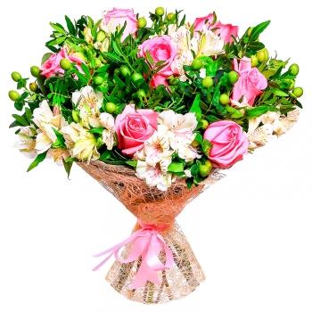 Букет из альстромерии и розовых роз