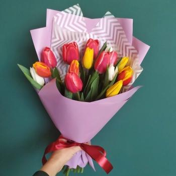 """Акция!!!Букет из 15 тюльпанов """"Нежность"""""""