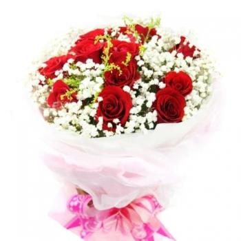 Букет из 13 роз и гипсофилы