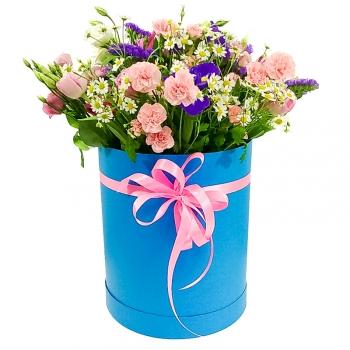 """Букет из летних цветов в шляпной коробке """"Экзотика"""""""