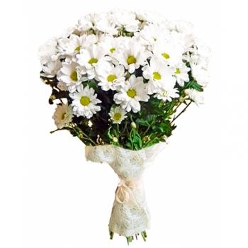 """Букет из 5 белых хризантем """"Легкая Грация"""" + Подарок"""