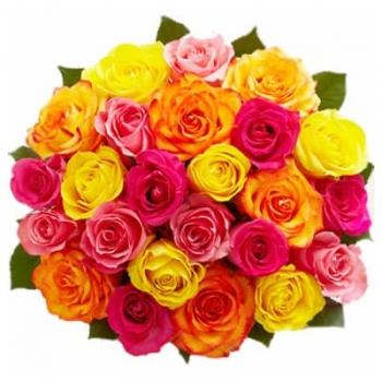 25 разноцветных Голландских роз 80 см . Акция!